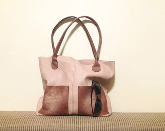 "leather tote – ooak handmade fashion bag - bag with pockets - genuine leather bag ""GIOVANNA"""
