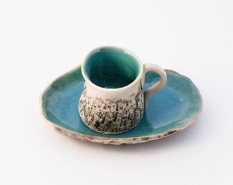 Turquoise Handmade Espresso Cup, Cup with saucer,Wheel thrown cup, Ceramic mug, Macchiato Cup, Arabic Mini coffee cup, Birthday wedding gift