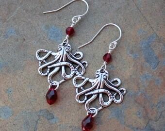 Davy Jones Earrings - Octopus charms & blood red crystals on sterling silver ear wires - for Cthulhu Fans and Pirates - Free Shipping USA