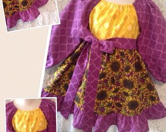 CUSTOM SIZES * Sun Flowers * boutique pageant peasant dress child size 6m 12m 18m 24m 2 3 4 5 6 7 8 - sewnbyrachel