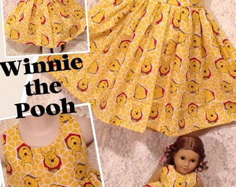 CUSTOM SIZES * Winnie the Pooh * Matching dress child 2 3 4 5 6 7 8 10 12 14 & American Girl Doll, Bitty Baby, My Twinn - sewnbyrachel