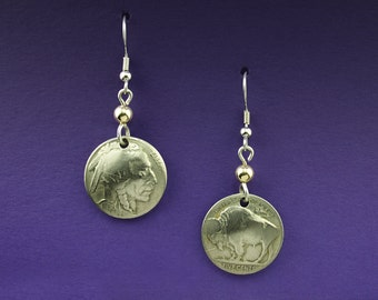 Buffalo Nickel on Dangle Earrings