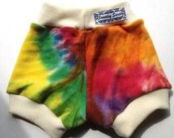 Diaper Cover Wool Shorties - Hand dyed Rainbow Tie Dye Wool Interlock Bloomers