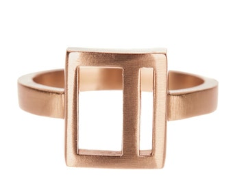 Reclaimed bronze square geo ring