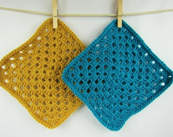 Crochet Hot pad, Set of 2 Granny Square Hot pad, Kitchen gift item, gifts under 5, turquoise gold hot pad, handmade hot pad, square hotpad