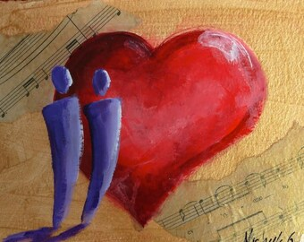 Anniversary Gift Sheet Music Art, A Love Everyone Can See, Original Fine Art Painting, Red Heart Art. Small Artwork, Daily Painting, Love