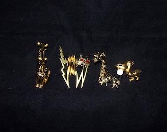 Vintage Animal Brooch-Gold Tone Enamel Giraffes} GERRY'S Giraffe Brooch } 1950's Gold Tone Pelican Brooch
