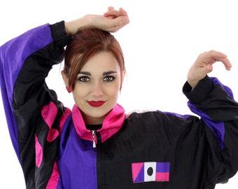 80s Colorblocked Windbreaker Jacket 90s Vintage Neon Shapes Splatter Paint 1980s 1990s Colorblock Running Surf Unisex Mens Womens Large L