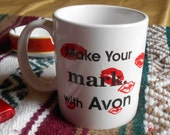1 DAY SALE Vintage Avon Lipstick Coffee Mug Make your Mark with Avon What's on your Lips?