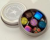 Fridge Magnets - Dichroic Glass Magnets in a tin - Gift Under 20, Great Stocking Stuffer & Teacher Gift