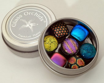 Fridge Magnets - Dichroic Glass Magnets in a tin - Gift Under 20, Great Stocking Stuffer & Teacher Gift