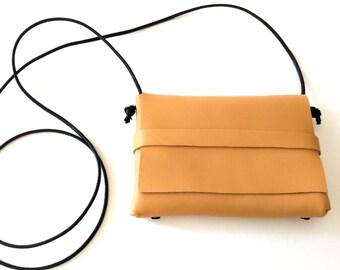 Camel Italian Leather Flap Cross Body Handbag