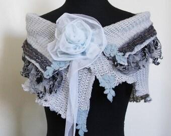 upcycled clothing . S - M . shoulder shrug . blue october