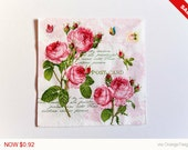 Sale -  Red Roses Napkin, Paper Napkin for Decoupage, Craft Napkin, Scrapbooking Napkin, Decoupage Paper Tissue