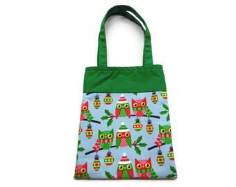 Fabric Christmas Gift/Goodie Bag - Owls