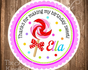 Lollipop Gift Tags, PRINTABLE Lollipop Stickers, DIY, Candyland Birthday Party