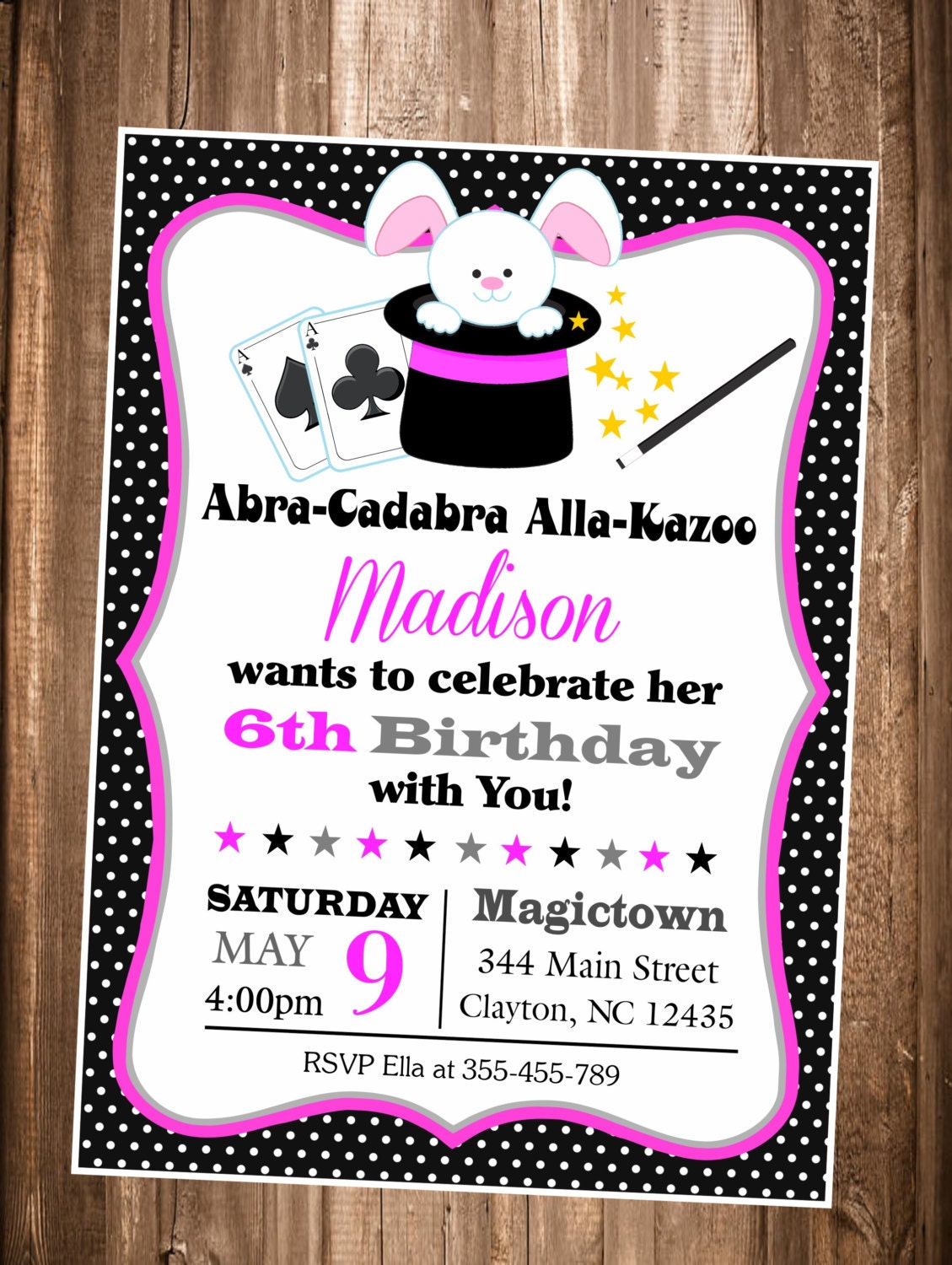 Magic Show invitation Girls Magic Show Birthday invitation