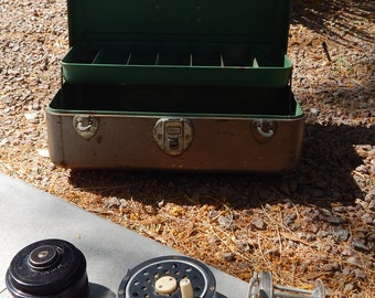 Vintage Union Fishing Tackle Box Mid Century with reels