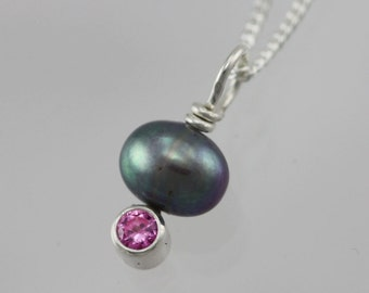 Peacock Pearl Drop Neck w-Stone (Pink Tourmaline) in sterling silver