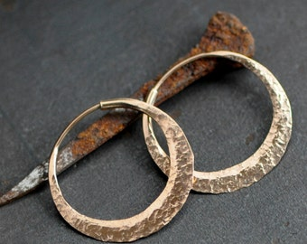 1 inchish rose gold hoop earrings, small hoops, rustic raw silk texture or your choice, mirror polish