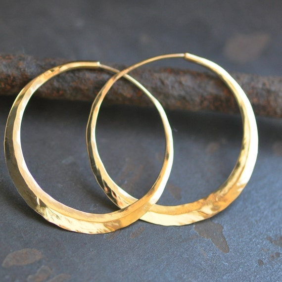 handcrafted solid 14k gold hoop earrings, medium endless hoops 1.5 inches, endless, continuous, eco friendly hoops