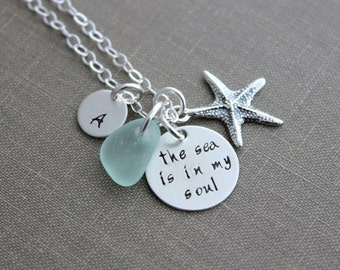 the sea is in my soul, Sterling silver, Hand Stamped, Starfish Charm and Initial Letter Charm, Beach Jewelry, genuine sea glass necklace