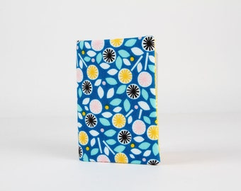 Fabric card holder - Floret in blue / Organic fabric / Glint / Flowers / Turquoise blue pink yellow white black blush