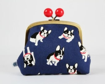 Metal frame clutch bag - Little dos on navy blue - Color bobble purse / Japanese fabric / Cute dogs Boston terrier / black white  bright red