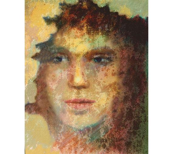 Face Painting, Contemporary art Print, Fantasy Portrait, Dream Fantasy, Woman's Face, Modern Wall Art, Face Theme, Water Media Art, 10 x 8
