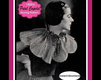 1950S-LOVELY PETAL CAPELET-Sewing Pattern-Evening and Day Looks- Graceful Scallop Edge -Sweet Drawstring Collar-One Size-Instant Download