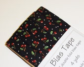 "Mary Engelbreit Cherries on Black 1/2"" Double Fold Bias Tape - 4 yds"