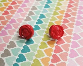 Red Rose Earrings ON SALE