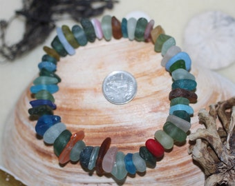 BEAUTIFUL BEACH GLASS Genuine Center Drilled Beach Glass  Beads 50 Colorful Jewels Of The Ocean zy114