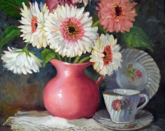 PINK Gerbera Daisies Still Life Painting, Original Art On Canvas Painting by Cheri Wollenberg