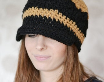ON Sale Chunky Newsboy Hat, Baker Boy Hat, Womens Peaked Hat, Uk Winter Hat, Black Hat