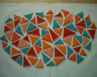 75NAV - 75 pc COLORFUL TRIANGLES - Ceramic Mosaic Tiles Set