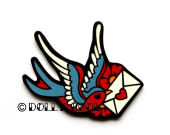 Swallow Brooch Tattoo Style with Love Letter by Dolly Cool. Old School Flash Vintage Envelope