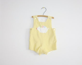 Vintage Yellow Corduroy Baby Romper