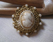 Vintage Style Jewelry, Retro Jewelry Vintage classic Florenza ornate cameo pin pendant pearl enhanced cameo brooch romantic filigree pearl cameo pin brooch Florenza brooch $25.00 AT vintagedancer.com