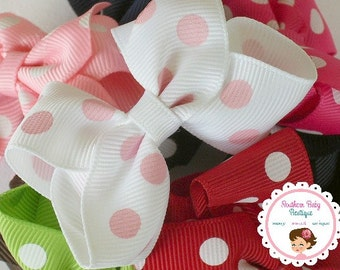 INVENTORY BLOWOUT SALE---Little Baby Toddler Girl Hair Bows 2.5 inch--- You Pick Clips and Colors---Set of 5---Polka Dots