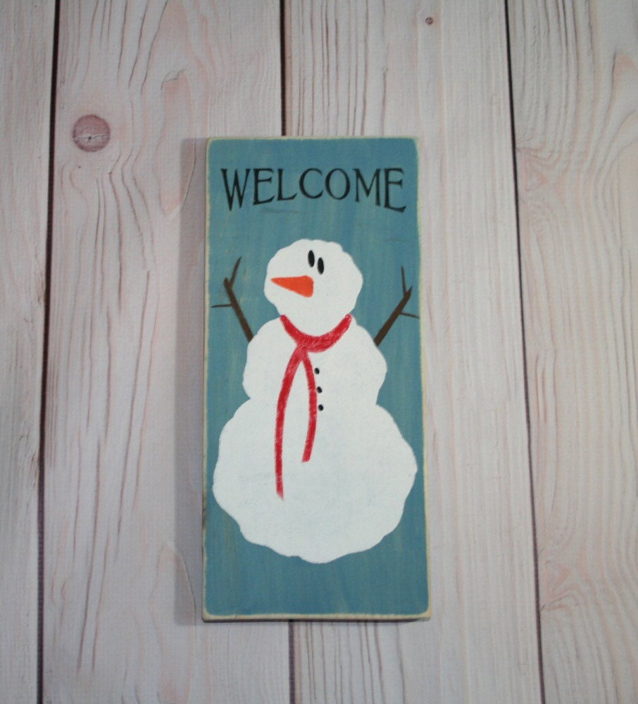 Snowman snowman sign christmas decor wood by heartandsouldecor for I sign decoration