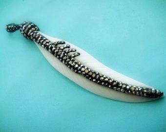 Pave Feather Bone Pendant, CZ Cubic Zirconia Encrusted Boho Carved Cream Color Pendant,  87x15mm, 1 pc