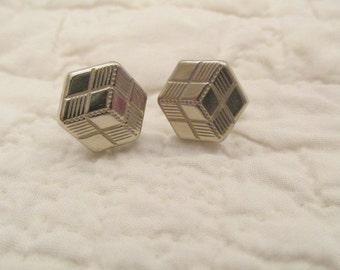 Vintage Cuff Links Geometric Design