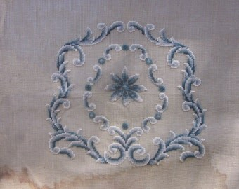 Antique Needlepoint Blank in Blue and White Rococo Design