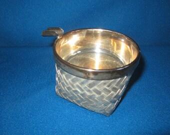 Vintage Unusual Basketweave Silverplate Ashtray