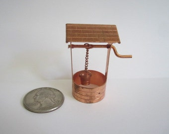 Vintage Miniature Copper Wishing Well Miniature with Bucket