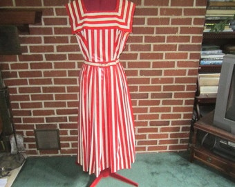 Vintage 1950s Kandell Design Red and White Glazed Cotton Dress with Boat Neck Collar