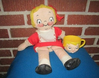 Vintage Campbells Soup Kid Cloth Girl Doll and Plastic Cup