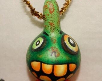OOAK Gourd Ornament Green Jol Guy Spooky Haunted Halloween Ornaments (A 12)