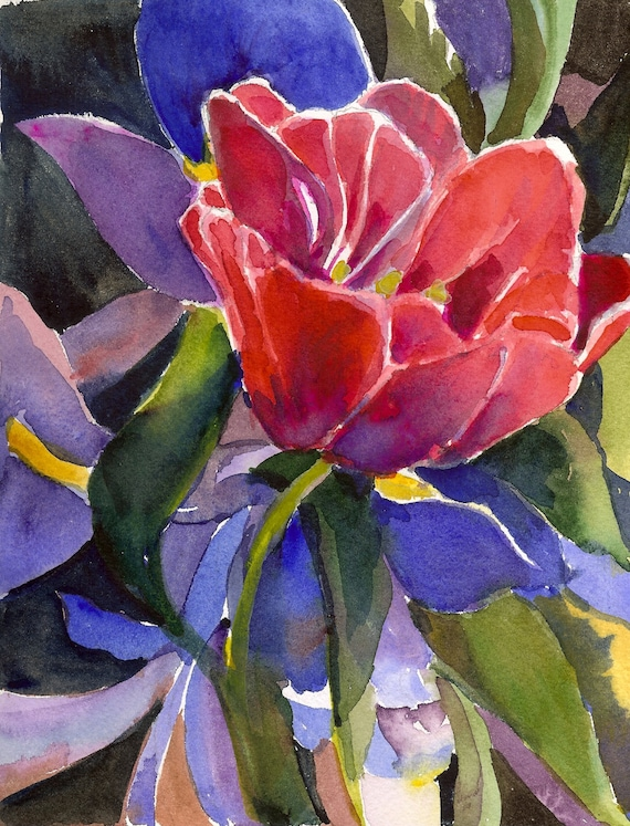 One Pink Tulip and One Royal Purple Iris SOLD